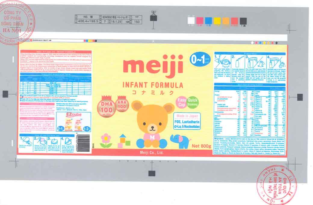 Nhãn mác xin giấy phép Công bố tại cục ATTP - Bộ Y tế Sữa Meiji 0-1 years old Infant Formula Ezcube