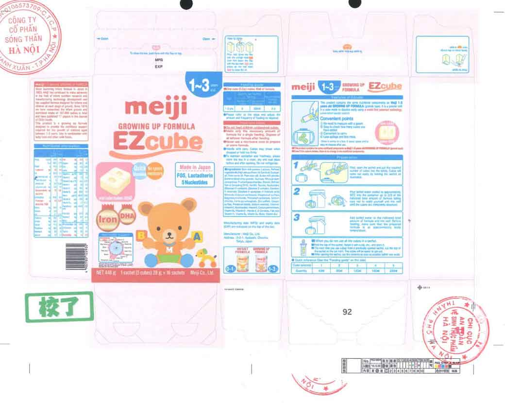 Nhãn mác xin giấy phép Cục ATTP - Bộ Y tế Sữa Meiji 1-3 years Growing up formula EZcube (hộp giấy)