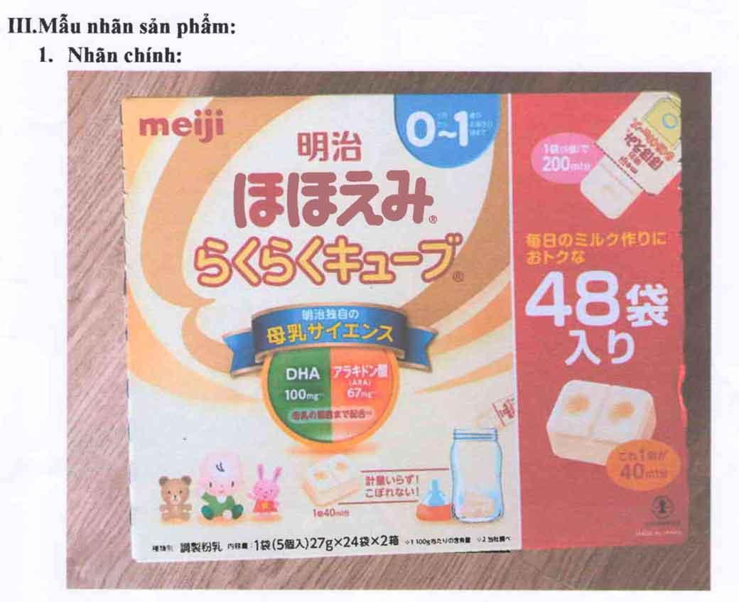 Tem nhãn đăng ký sản phẩm tại Cục ATTP - Bộ Y tế Sữa Meiji Hohoemi Cube