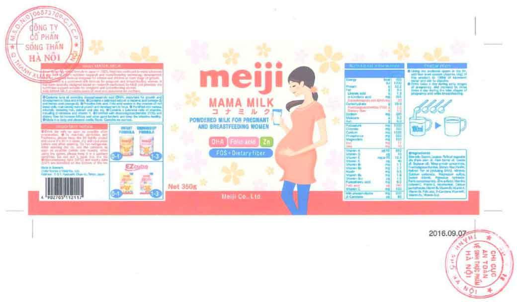 Tem nhãn sản phẩm Sữa bầu Meiji Mama Milk xin công bố tại Cục ATTP - Bộ Y tế
