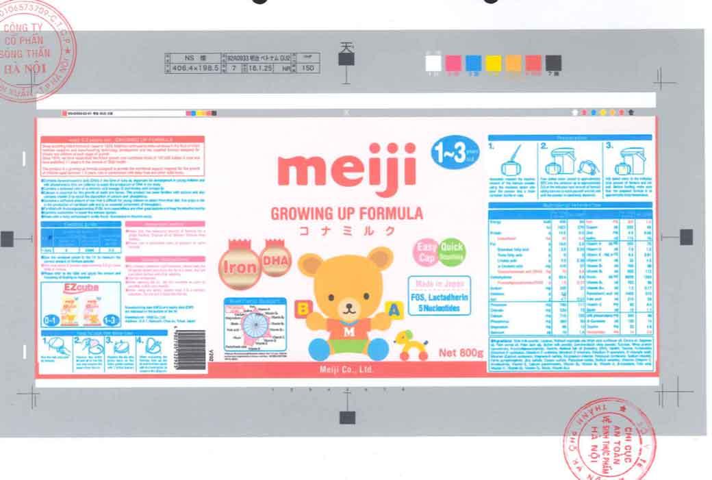 Nhãn mác xin công bố tại Cục ATTP - Bộ Y tế Sữa Meiji 1-3 years Growing up formula