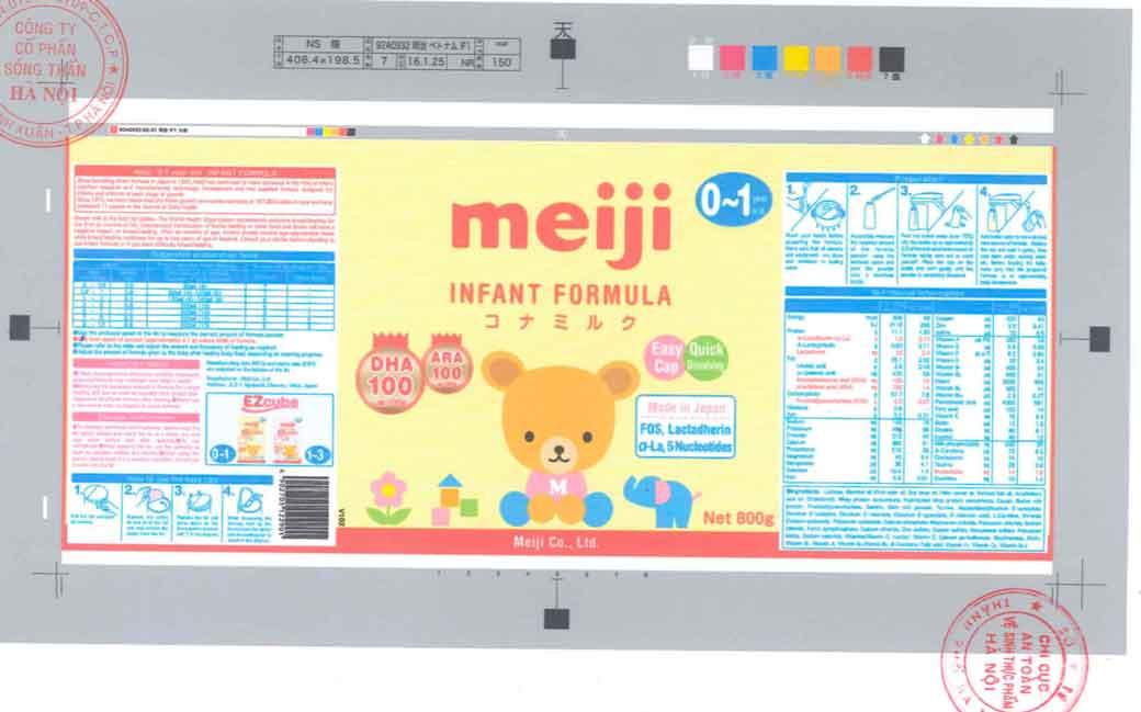 Tem nhãn sản phẩm xin giấy công bố tại Cục ATTP - Bộ Y tế Sữa Meiji Infant Formula